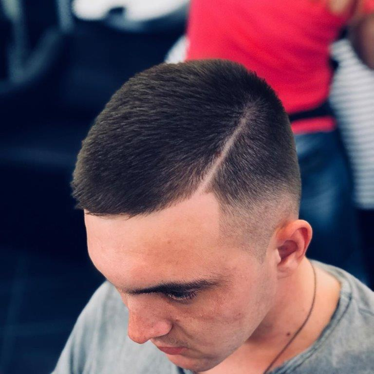 military buzz cut with side part
