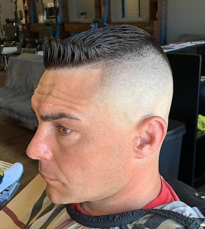 military crew cut with shaved sides