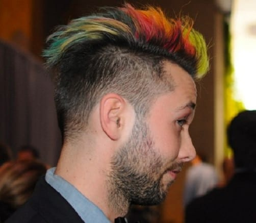 Colored Mohawk with a Buzz Cut