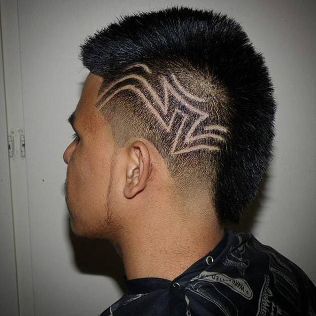 Short Mohawk with Geometric Pattern
