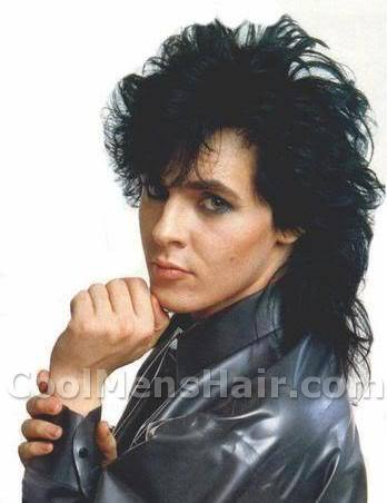 Picture of Nick Rhodes 80s hairstyle.