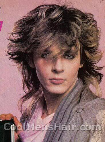 Photo of Nick Rhodes big hairstyle.