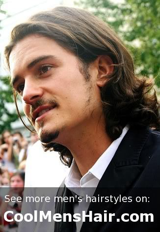 Orlando Bloom's long layered curly hairstyle