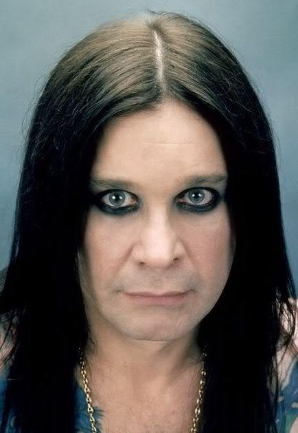 Picture of Ozzy Osbourne long straight hairstyle.