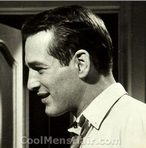Photo of Paul Newman hair in side view.