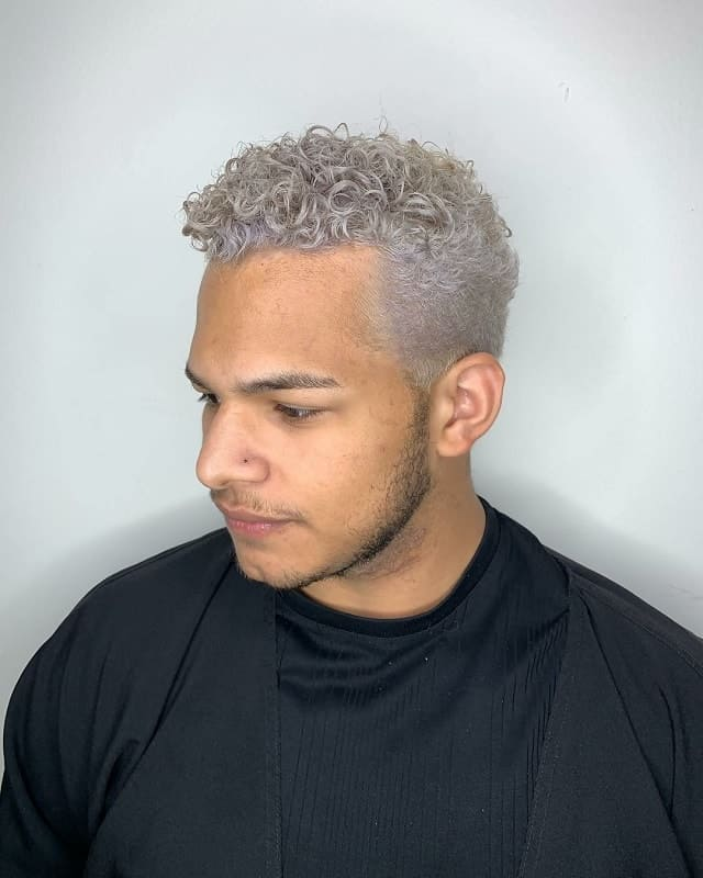 curly platinum blonde hair