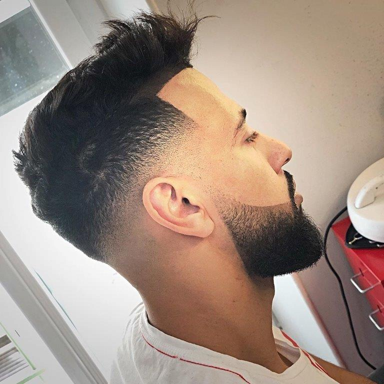 Pompadour Comb Over with Tapered Sides
