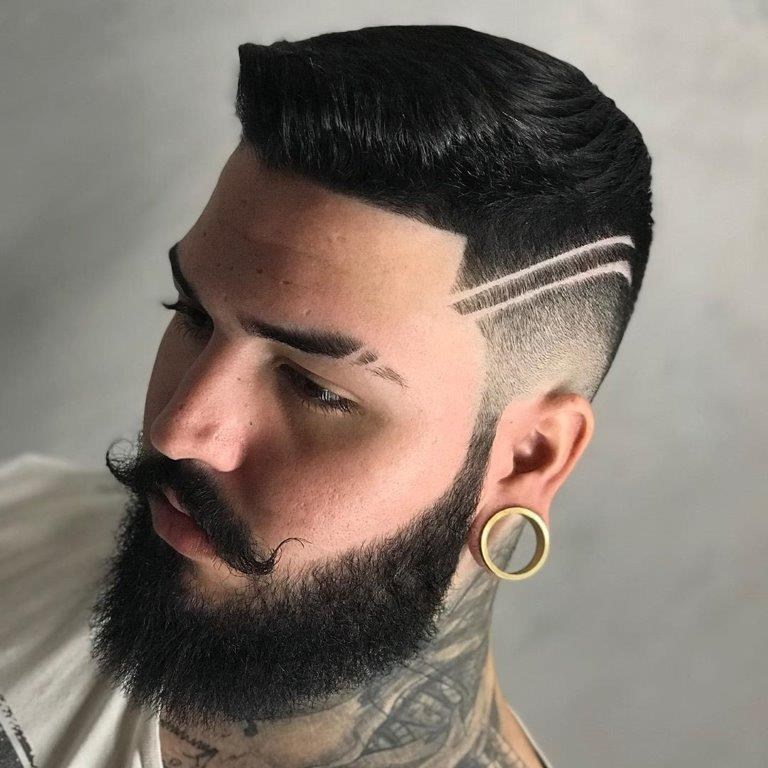 pompadour comb over with line