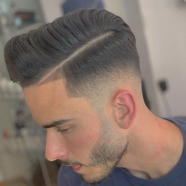 Comb Over Pompadour with a Hard Part