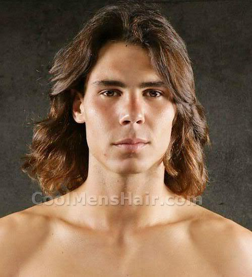 Rafael Nadal long hair style picture.