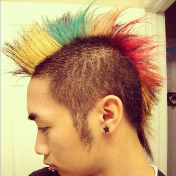 Rainbow hairstyle.