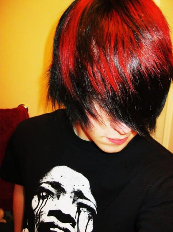 red colored emo hair