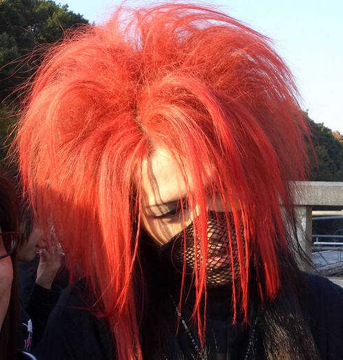 Harajuku red gothic hair.