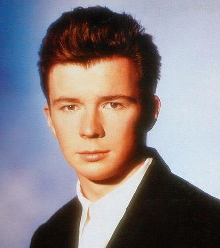 Picture of Rick Astley 80s hairstyle.