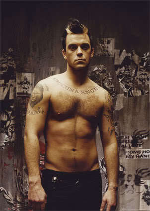 Image of Robbie Williams hairstyle.