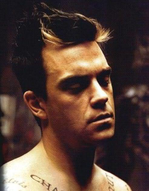 Image of Robbie Williams hair with blonde streak.