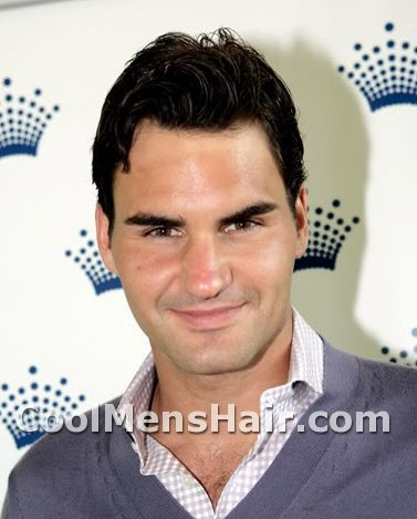 Photo of Roger Federer hairdo.