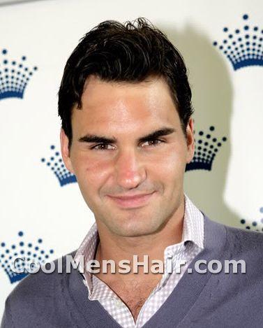 Photo of Roger Federer hairdo.