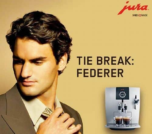 Picture of Roger Federer hairstyle in an advertisement.