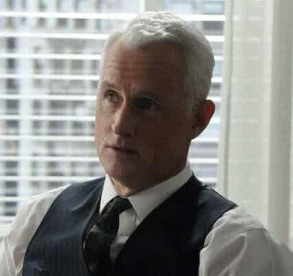 Image of Roger Sterling businessman hairstyle in the tv series Mad Men.