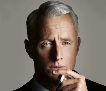 Photo of Roger Sterling hairstyle in the tv series Mad Men.