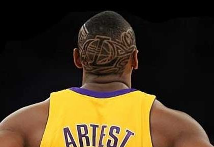 Picture of Ron Artest hair tattoo.