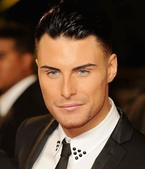 Photo of Rylan Clark slick back hair.