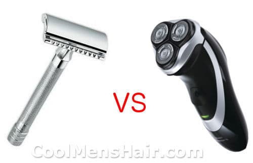Illustration of safety razor vs electric shaver.