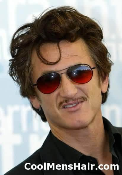 Picture of Sean Penn hairstyle with thin mustache.