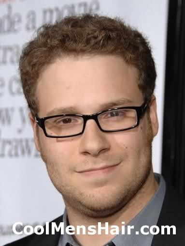 Image of Seth Rogen short curly hairstyle.
