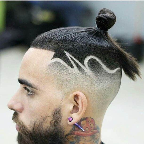 top knot with shaved sides hairstyles for men