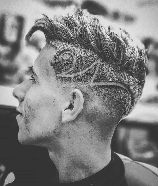 long on top with shaved sides and design