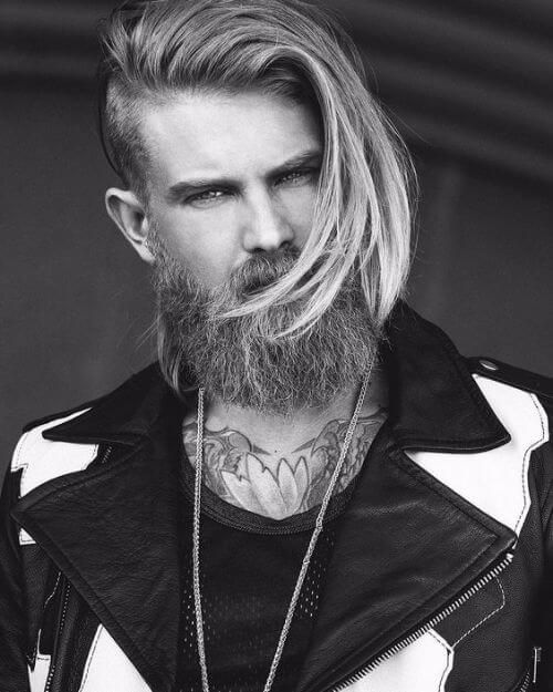 long hair on top with shaved sides