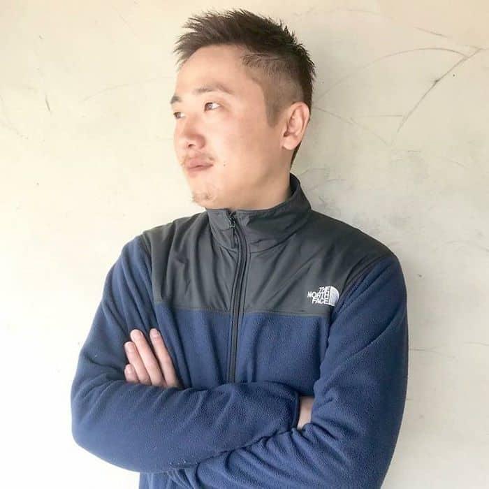 Asian guy with short buzz cut