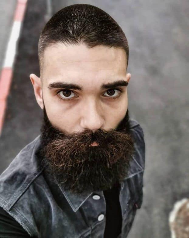 short buzz cut with beard