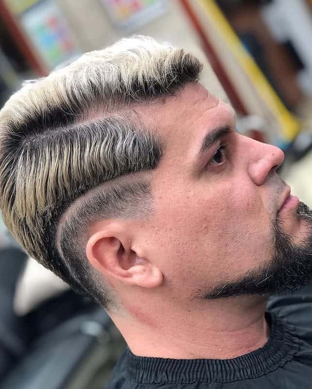 tow toned short comb over hairstyle