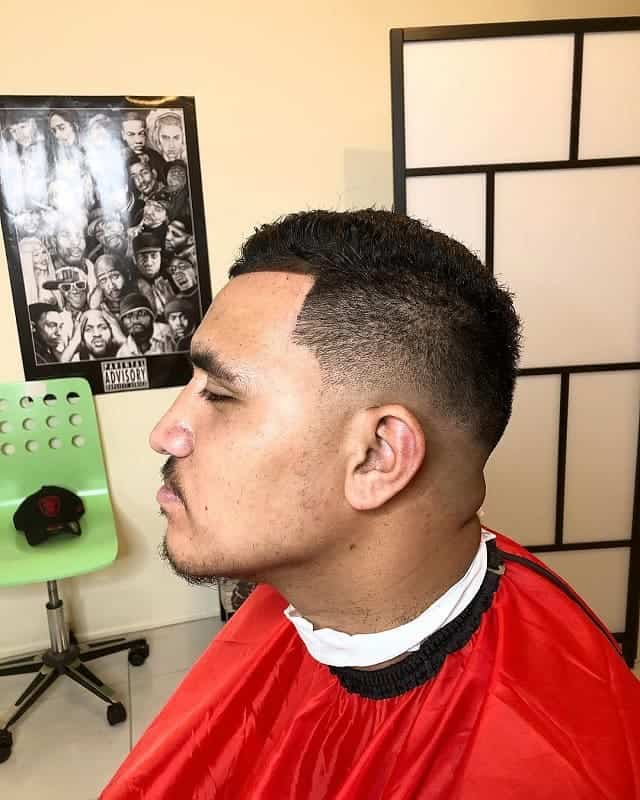 short comb over with low skin fade