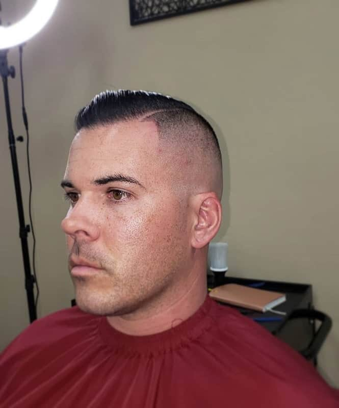 Short Comb Over with Bald Fade