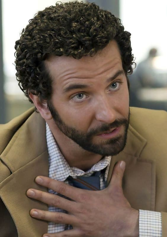 Bradley Cooper's short tight curly hair