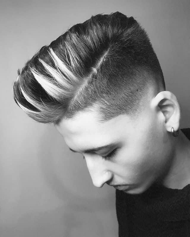 short hair undercut with highlights