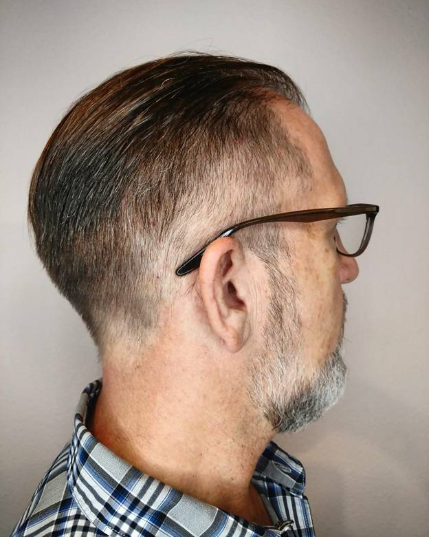 Short Slick Back Haircut for Older Men