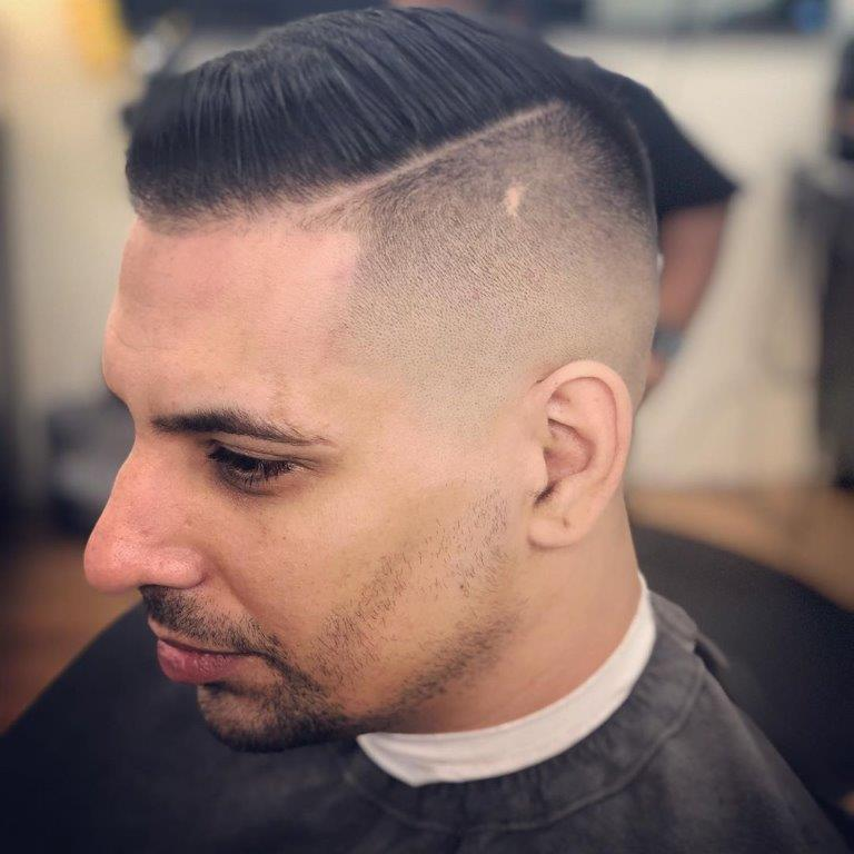 short mohawk fade with side part