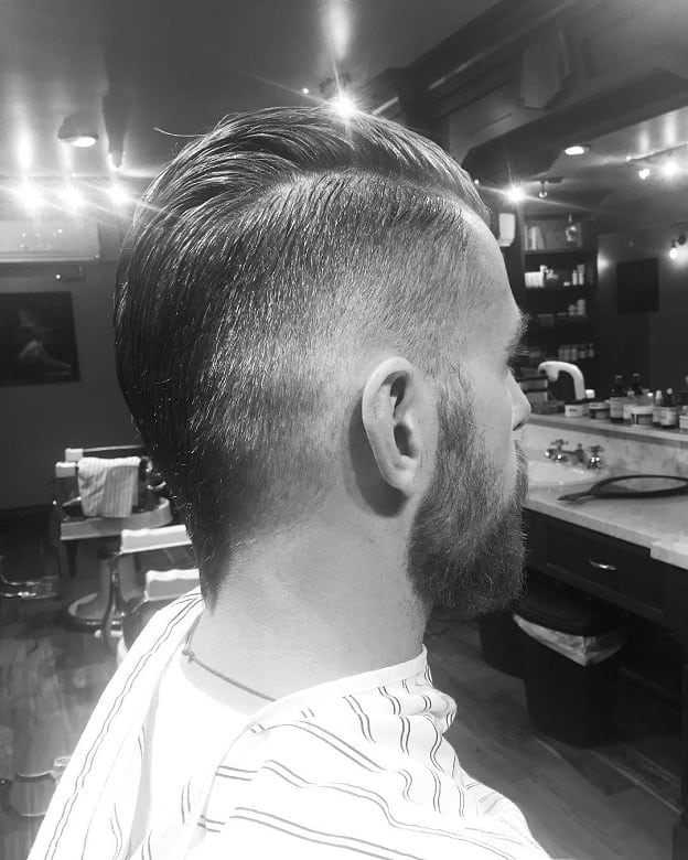 short slick back mohawk with fade