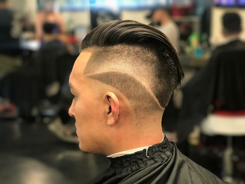 point fade short pompadour hair