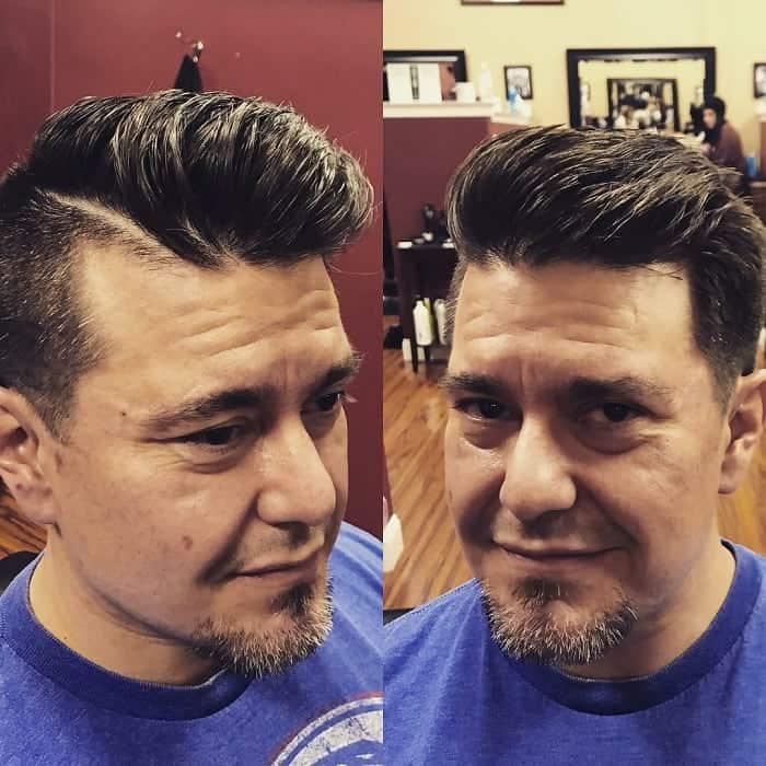 short pompadour hair with hard part