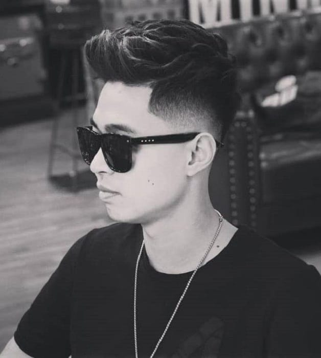 short quiff with low fade