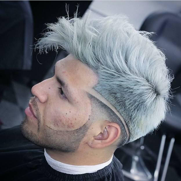 silver mohawk with a sideline for guys