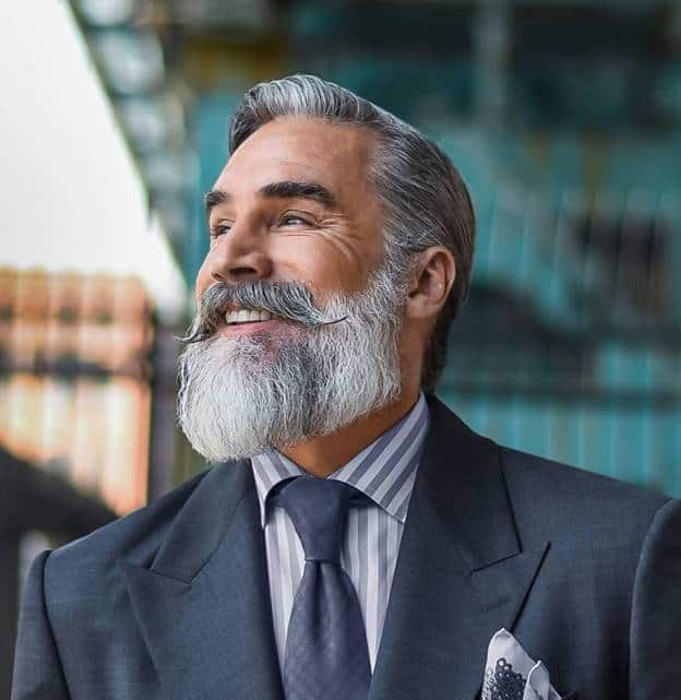 sleek grey hair with beard and mustache