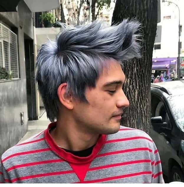silver spiky hair for guys