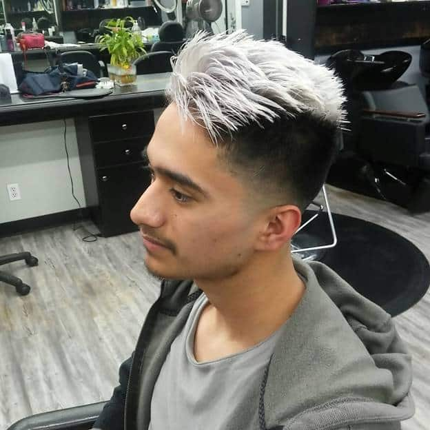 black hair with silver top for guys